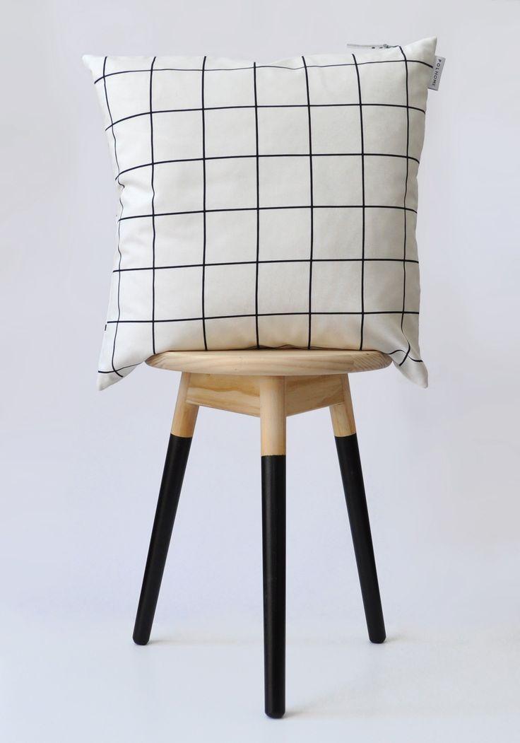 Monochrome grid cushion cover