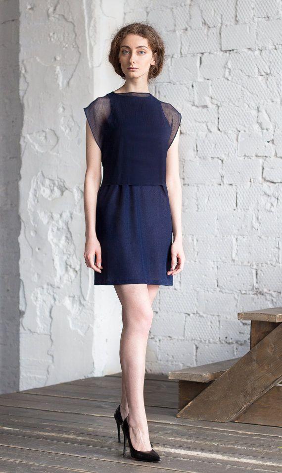 Dark Blue Evening Dress / Wedding Guest dress by ExlibrisClothing