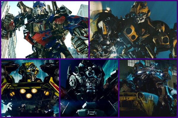 The Original 5 Autobots (Optimus Prime, Bumblebee, Ratchet, Ironhide & Jazz) From The 1st Transformers Movie. #transformers #2007 #collage #purple #heroes #autobots #5 #original #optimusprime #bumblebee #ratchet #ironhide #jazz