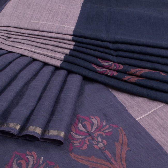 Buy online Handwoven Khadi Jamdani Silk Saree With Floral Motifs 10009253