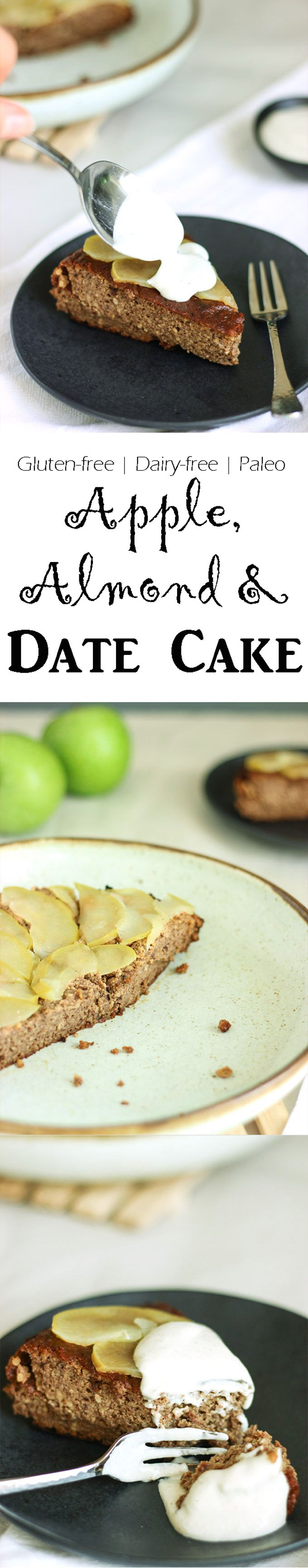 Gluten-free, paleo, dairy-free apple, almond and date cake. Easy and delicious!
