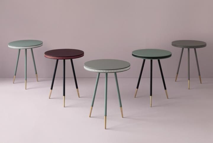 Bethan Gray marble tables with gold accent on legs