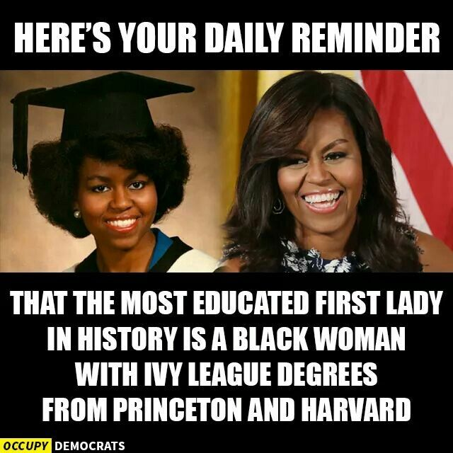 I know that if she would of run for president with  basically anyone, she would have stopped Trump. - A pointless pinterest argument over Michelle Obama's credentials below.