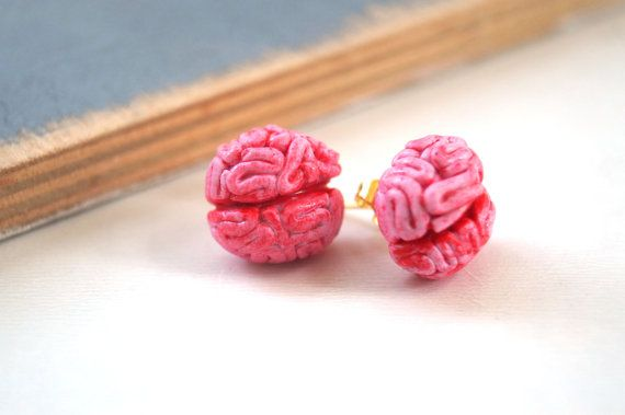 Halloween Brain Stud Earrings Polymer Clay Handmade