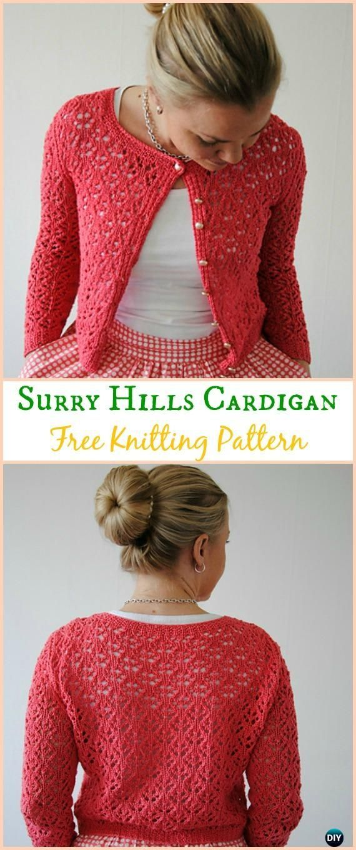 Women's Surry Hills Cardigan Sweater Free Knitting Pattern - Knit Women Cardigan Sweater Coat Free Patterns