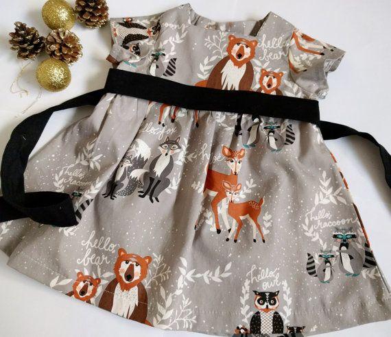 Baby girls dress woodland Girls birthday dress by SilSewingStudio