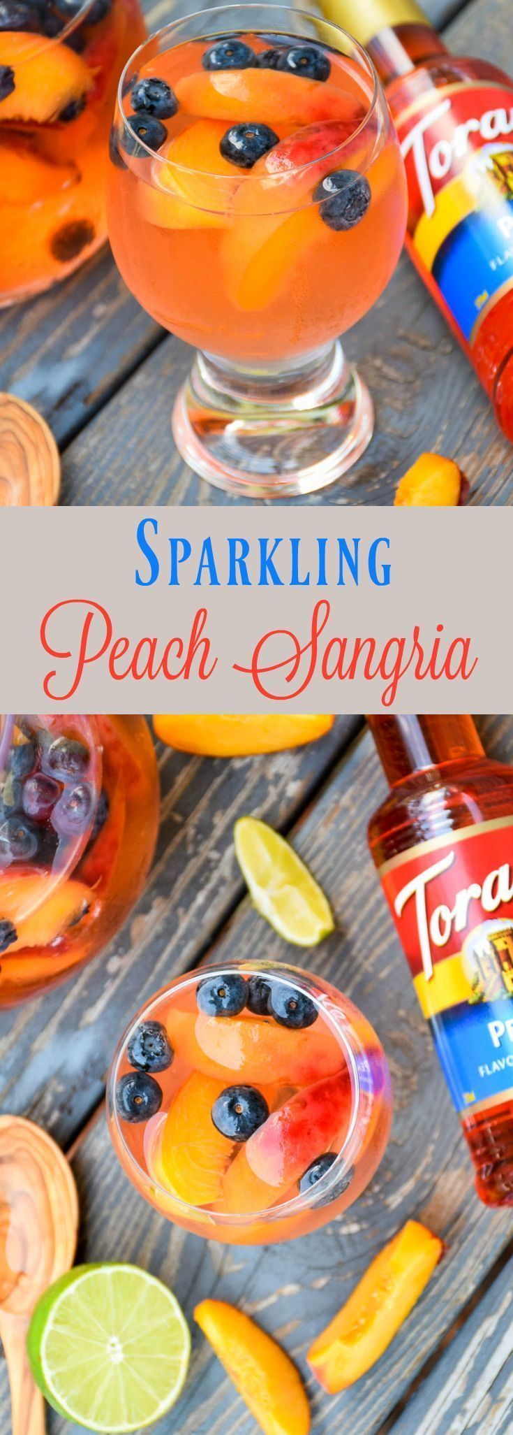Make a splash this summer with Sparkling Peach Sangria! Full of peach flavor, this beverage is refreshing, delicious and perfect for summertime fun! @walmart #MyToraniSummer  @ToraniFlavor #ad