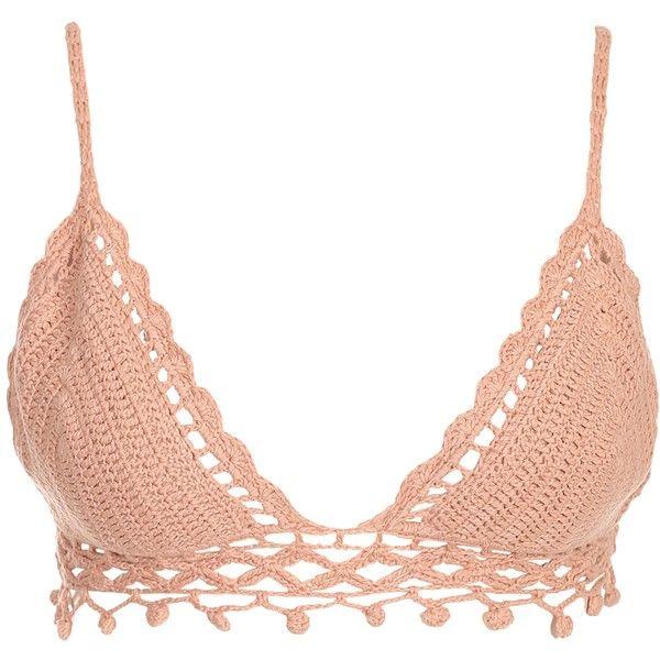 Badkläder ❤ liked on Polyvore featuring swimwear, swimsuit tops, crochet beachwear, tankini top, crochet bikini and crochet swimwear