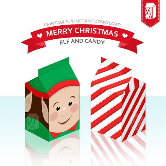 #Christmas #Printables #Party #Favor #Gift #Box #Decoration #DIY #Elf #Candy by MicaPrintables
