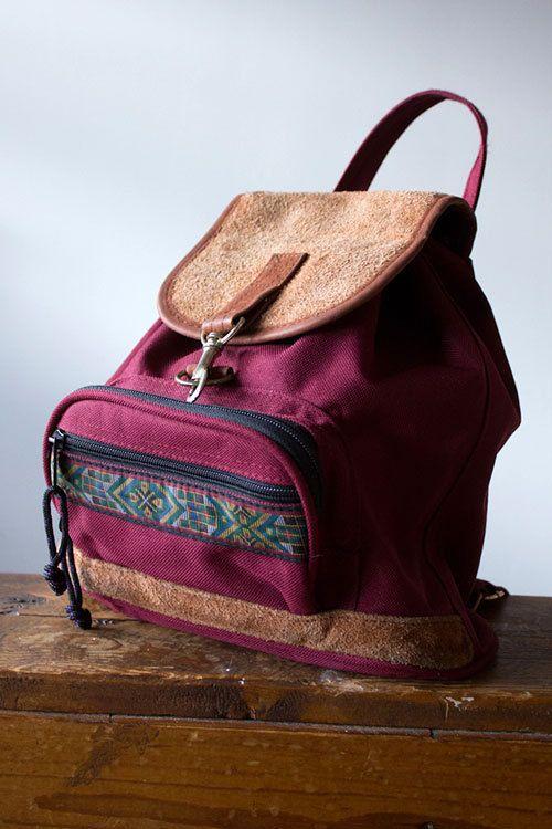 Vintage Grunge Revival Burgundy Mini Backpack- 1990's