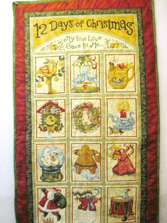 Twelve Days Of Christmas Quilted Wall Hanging Tree Quilt Christmas Fabric Panels Quilt Kits
