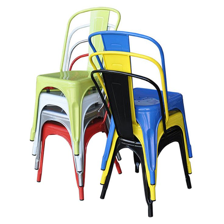Replica Tolix chair with drain holes and a comfortable back rest. Our chairs are high quality and stackable. They look great at the table, office or cafe.