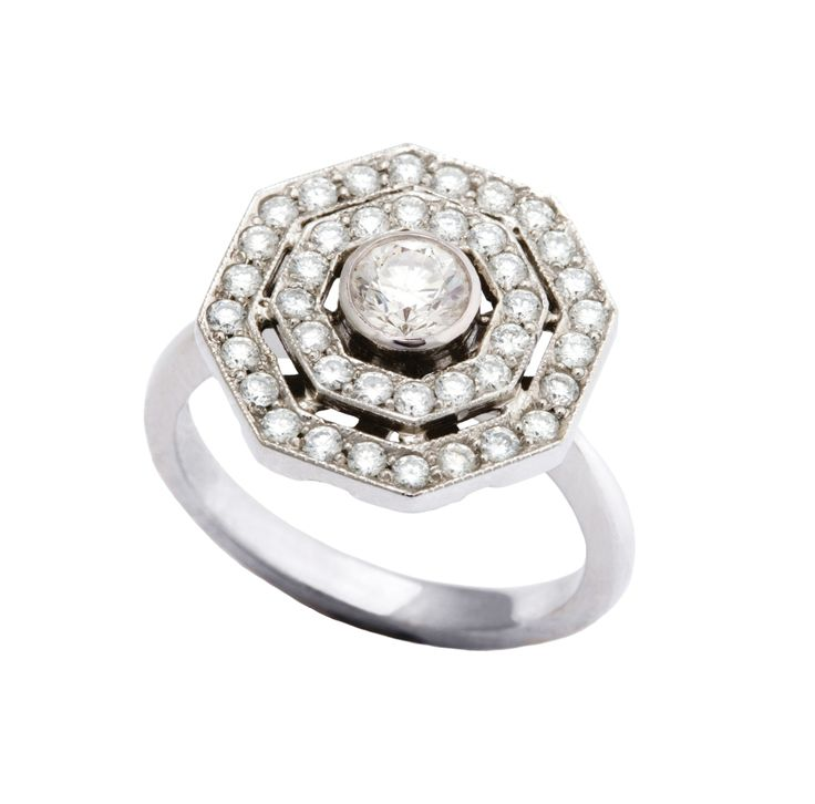 Angara s Brown Diamond Octagon Halo Ring in White Gold Iw8NrYP