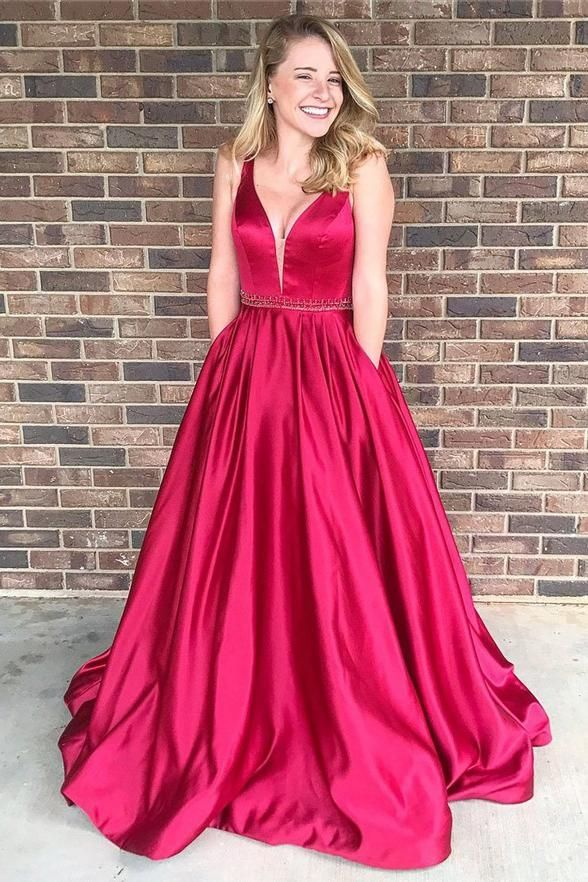 A Line Princess V Neck Hot Pink Satin Prom Dresses Evening Gown Party Dress With Pocket LD968 #partydress