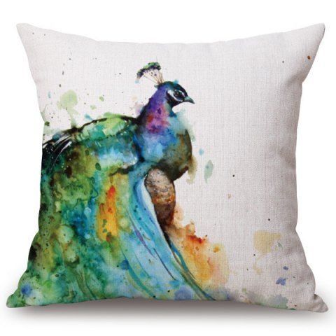 Fashion Watercolor Peacocks Pattern Square Shape Flax Pillowcase (Without Pillow Inner)