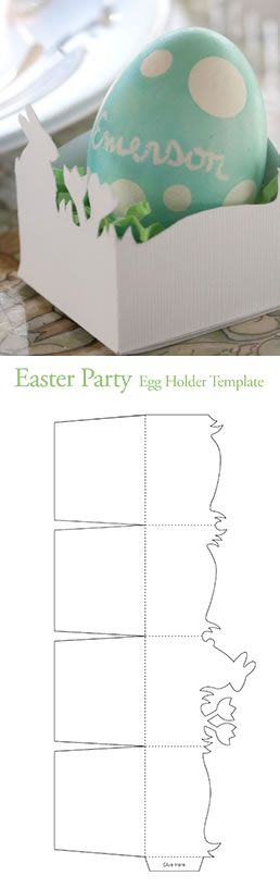 Free Easter egg holder template from Pottery Barn Kids (this could be printed on any scrapbook patterned paper, or solid colored paper...hw)