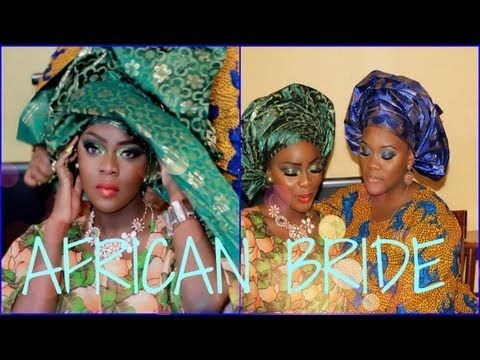 Collab with Enibaby4 | African Bride Makeup Tutorial + Gele Instructions - YouTube