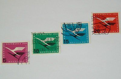Stamp Pickers Germany 1955 Lufthansa Air Post VFU Set Scott #C61-C64