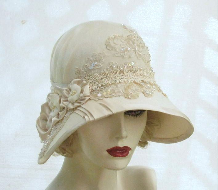 wide brimmed bridal hats | ... Vintage Inspired Summer Cloche Wedding Hat in Ivory - The Fitted Hat