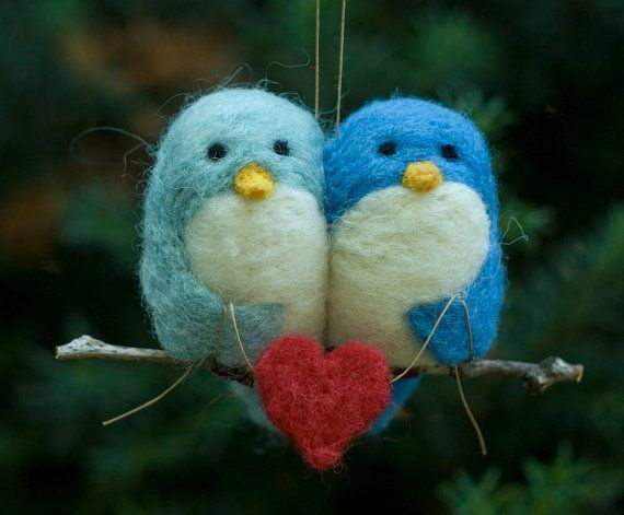 Needle Felted Bird Ornament  Love Birds by scratchcraft on Etsy, $42.00