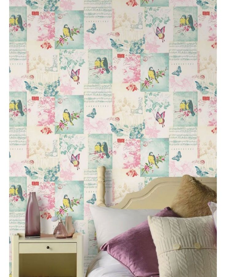 This stunning wallpaper features beautiful birds and flowers amongst a pattern of postcards and song sheets on a soft cream background. The design uses soft muted tones and colours to give a beautiful vintage feel to the wallpaper and is printed on to luxury heavyweight paper to ensure durability and a quality finish.