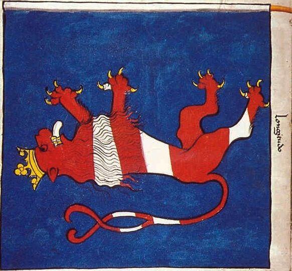 "f°42v, Chorągiew miasta Brunszwiku // Banner of the Town of Brunswick -- ""Banderia Prutenorum"", by Jan Dlugosz, 1410"