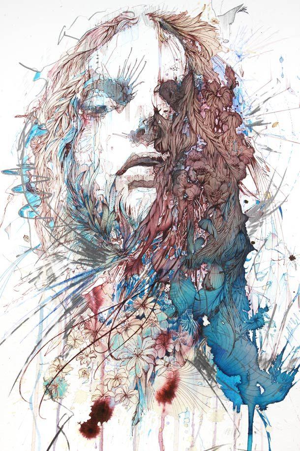 Des illustrations issues du portfolio de l'artiste anglaise Carne Griffiths, qui mélange coulures, griffonnages de stylo, de feutres et de crayons à ses illus