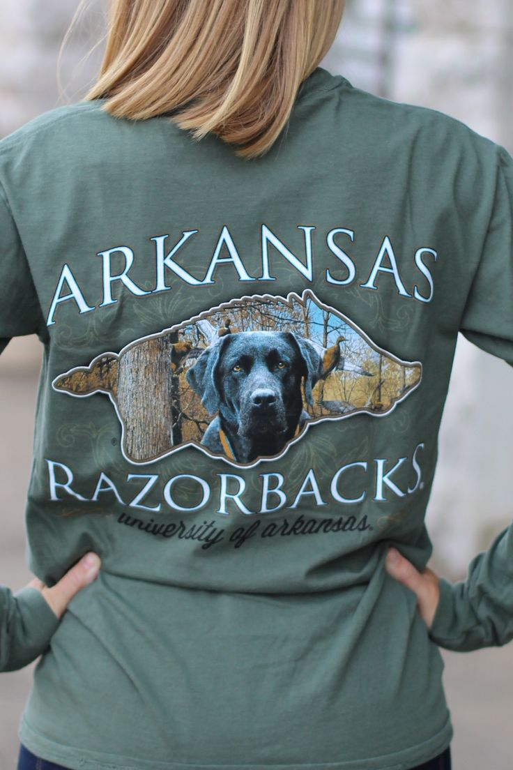 Arkansas Razorbacks Lab long sleeve tee featuring a Razorback with Lab and  outdoor hunting scene inside. Sage in color. Front left chest has Razorback.