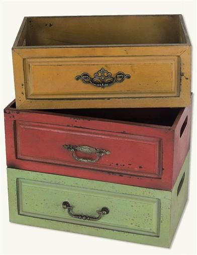 Colored Wooden Storage Boxes(set Of 3) From Victorian Trading Co.