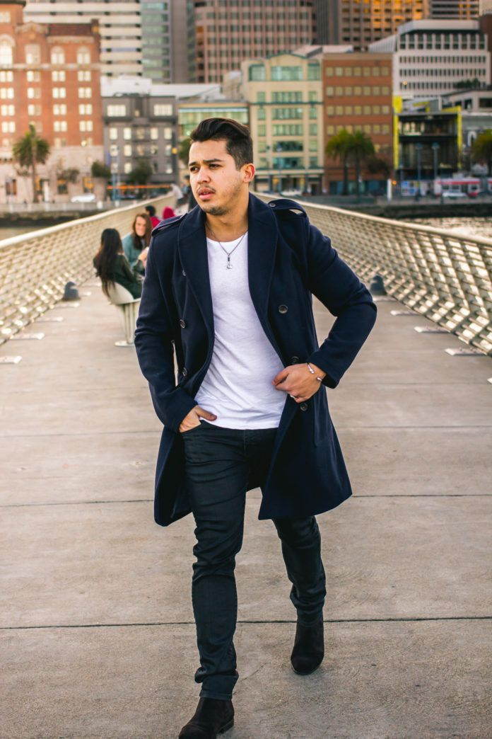Navy Coat, Jeans and Brown Suede Chelsea Boot