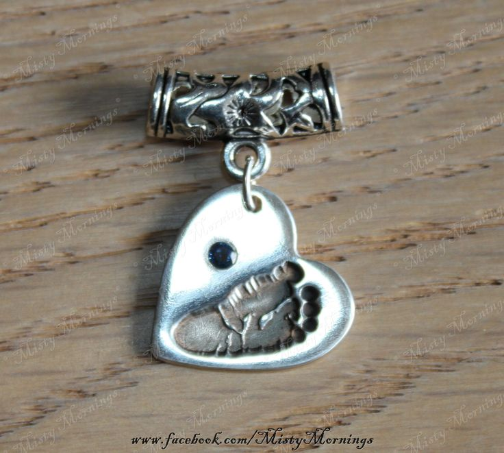 Solid silver pendant with your own childs foot print (or hand print) along with their birth stone www.facebook.com/MistyMornings