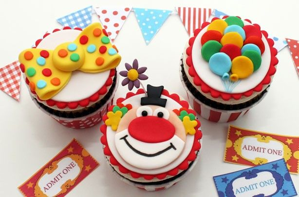 Clown Cupcake Toppers :o)