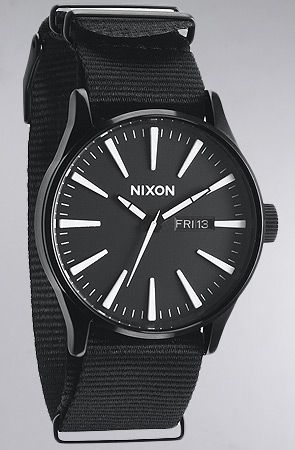 The Sentry Watch in All Black Nylon by Nixon