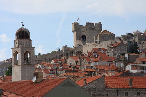 Looking out across the rooftops of the walled Medieval city of Dubrovnik, Croatia