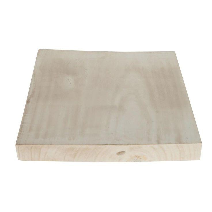 Vierkante houten plaat met een lichtgrijze look. Ideaal als onderblad of plateau voor kaarsen of andere decoratiematerialen. Afmeting: 30 x 30 x 4 cm - Houten Plaat Vierkant