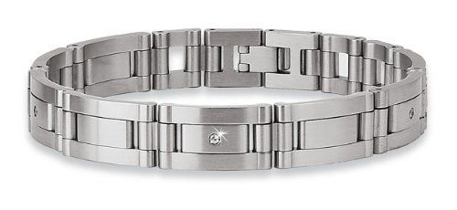 """STEL Stainless Steel .12ct tw Diamond Bracelet 8 1/2"""" STEL. $195.00. 8 1/2"""" Bracelets with 1/4"""" Sizing Links. Shipped in STEL presentation package. 4-.03ct Diamonds Totaling .12ct tw. Bracelet is Sizeable just like a Watchband"""