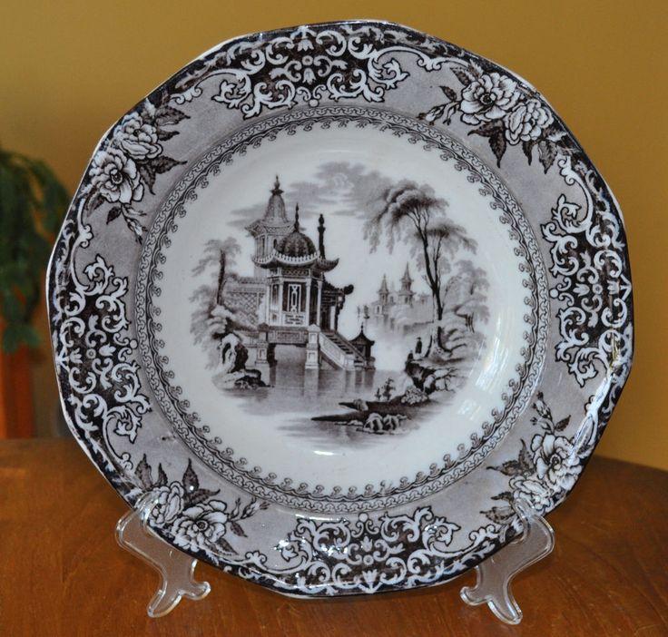 Antique Flow Black Mulberry Ironstone Soup Plate Clementson Corea Staffordshire | Antiques, Decorative Arts, Ceramics & Porcelain | eBay!