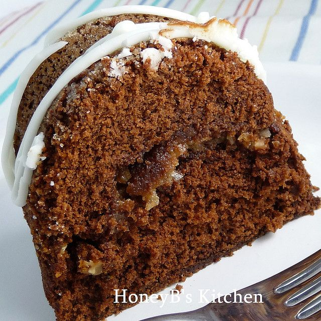 German Chocolate Bundt Cake - the delicious coconut / pecan streusel mixture is tunneled in the middle to keep the cake nice and moist!