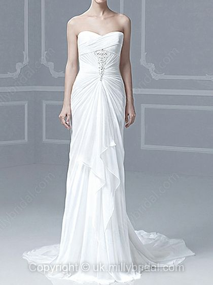 Sheath/Column Sweetheart Chiffon Chapel Train White Beading Wedding Dresses -USD$211.06