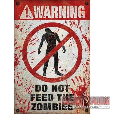 Zombie poster featuring the word WARNING at the top and the words DO NOT FEED THE ZOMBIES at the bottom with a symbol in the middle. Excellent poster for the zombie fan. Poster is new and measures 24x36 inches.