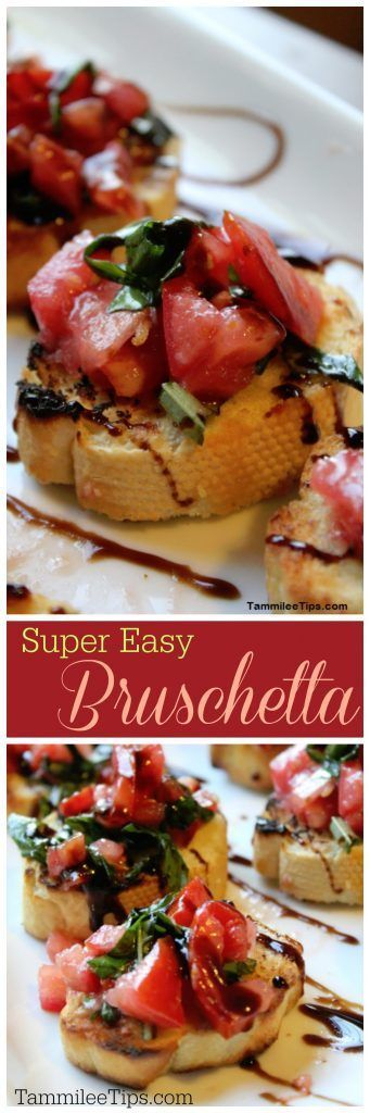 Super Easy Bruschetta Recipe! This is the best appetizer! So simple to make and great for a crowd! You can't go wrong with this tomato, balsamic vinegar glaze appetizer! Hello yum! Great for super bowl parties, football parties, birthdays, weddings, or an