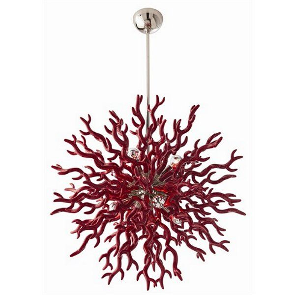 Diallo Chandelier - The coral inspired large red lacquered resin chandelier is as dramatic as it is unique. The polished nickel center sphere gives it just ...  sc 1 st  Pinterest & The 33 best coral-lighting images on Pinterest | Coral Coral reefs ...