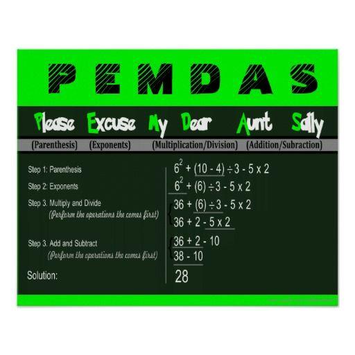 Mejores 23 imágenes de PEMDAS Order of Operations Math Posters en ...