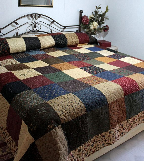 Love the colors on this King Bed Quilt PERENNIAL  105 x 115 by QuiltLover on Etsy, $465.00