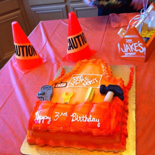 Jakes 3rd birthday, Home Depot themed... Every boy loves tools right??