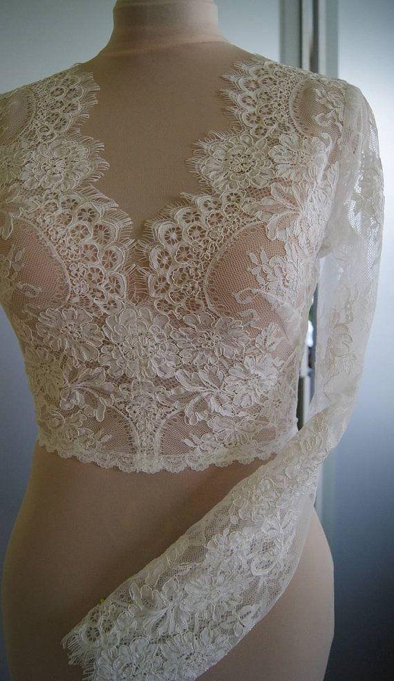 Wedding bolero-top-jacket with lace,alencon, sleeves, . Unique, Exclusive Romantic bolero EMA