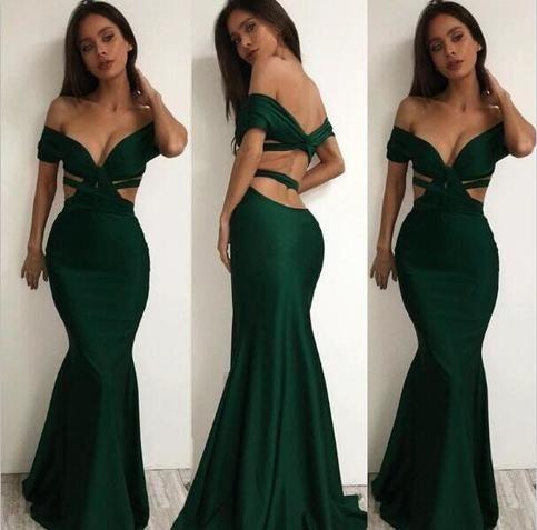 Emerald Green Prom Dress,Mermaid Cross Prom Dress,Off The Shoulder Long Party Dress
