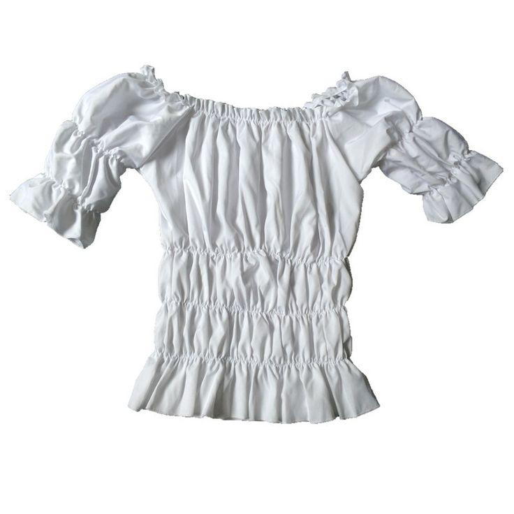 Women's Renaissance Halloween Peasant Wench Costume Corset Top Blouse Shirt with Elastic Puff Details White Corset Blouse