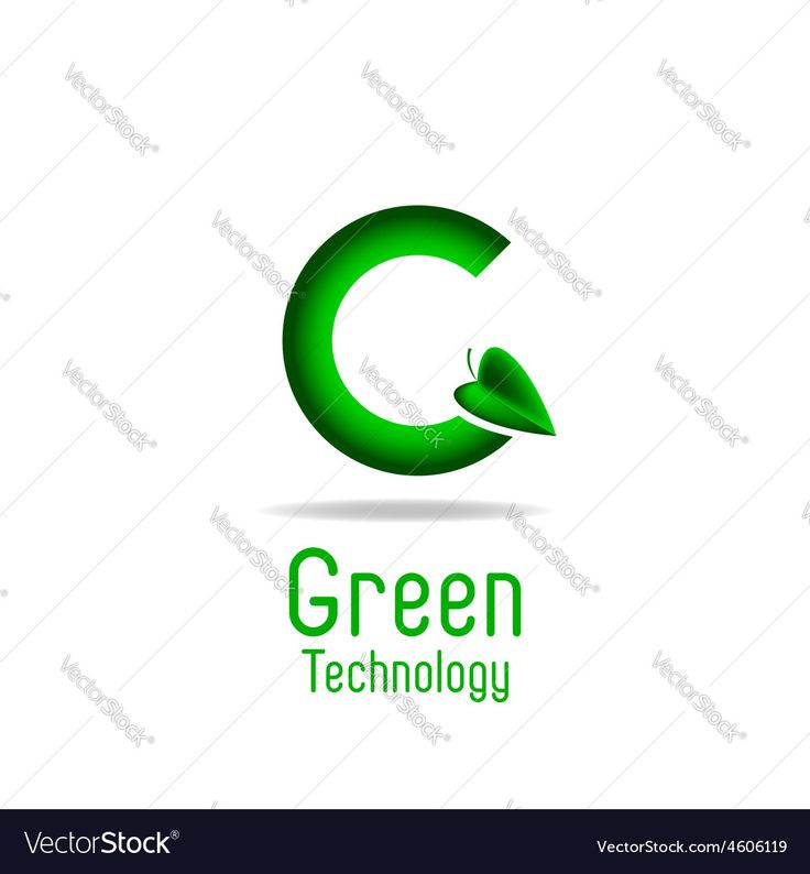 Vector image of Green letter G and leaf eco technology logo mockup Vector Image, includes logo, white, background, icon & leaves. Illustrator (.ai), E…