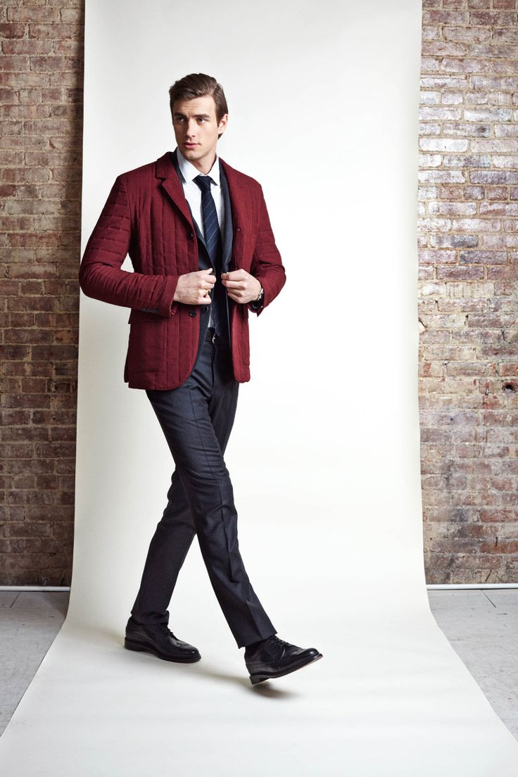 Bourbon: the quilted nylon jacket in Maroon with quilted seersucker interior and patch pockets with grommets. Haspel Fall/Winter 2014 Collection